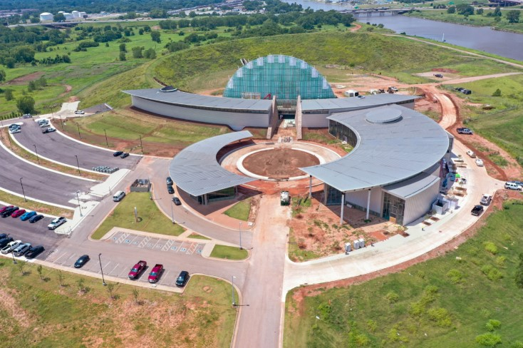 A drone shot of the First Americans Museum
